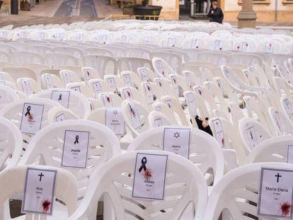Instalación contra la violencia de género, en Tàrrega.