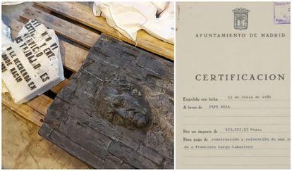 Restos de la placa de Largo Caballero hallados en un almacén del Ayuntamiento y el contrato que se firmó con Pepe Noja..