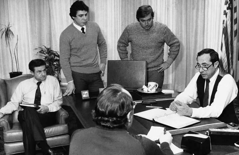 Andrew Cuomo (standing, left) attends a meeting of his father, Mario Cuomo, then governor of New York, in 1978.