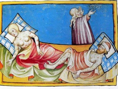 Miniatura de la Biblia de Toggenburg (Suiza, 1411) que habitualmente se interpreta como representación de la peste negra aunque podría tratarse de la viruela.