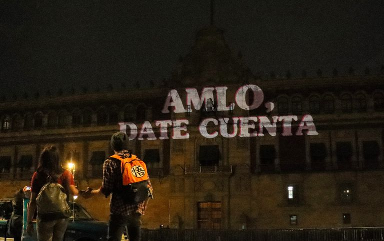 One of the projections on the facade of the National Palace, in Mexico.