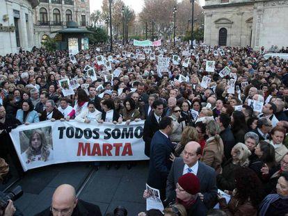 Manifestación contra la sentencia del 'caso Marta del Castillo', en 2012.