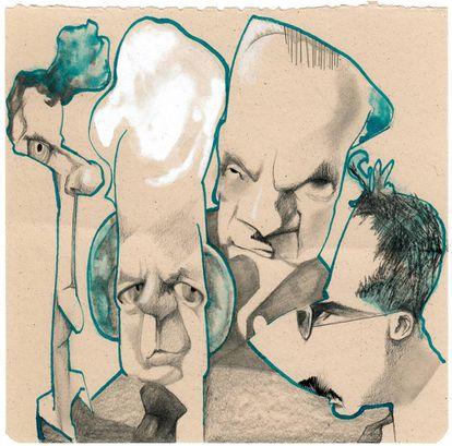 Desde la izquierda, Wittgenstein, Cassirer, Heidegger y Benjamin, vistos por Sciammarella.