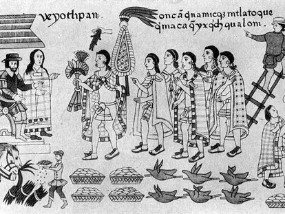 La entrevista entre el conquistador Hernán Cortés, la Malinche y el emperador azteca Moctezuma, ilustración del códice de Tlaxcala.