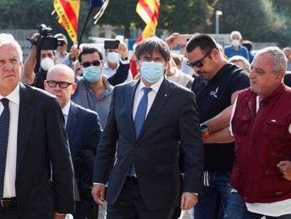 Carles Puigdemont llega al tribunal de apelación de Sassari, este lunes en Cerdeña.