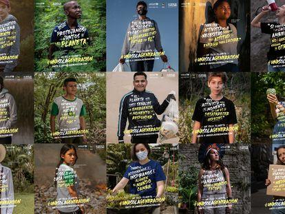 Imagen de los 15 activistas contra el cambio climático de la campaña 'Una sola generación' de Unicef.