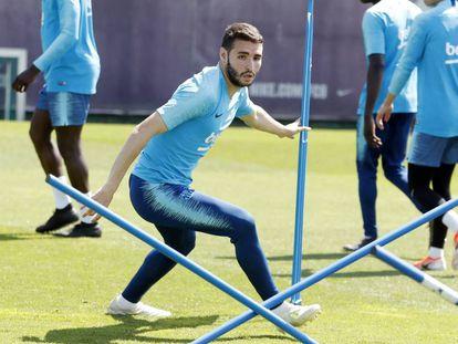 Abel Ruiz durante un entrenamiento del Barça.