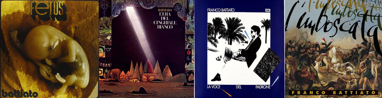 De izquierda a la derecha las portadas de 'Fetus' (1971); 'L'era del cinghiale bianco' (1979); 'La voce del padrone' (1981) y 'L'Imboscata' (1996).