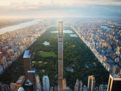 Vista de Manhattan. En el centro, el rascacielos más estilizado del mundo, apodado 'la pluma', diseñado por SHoP Architects. A su izquierda, el Edificios One57, proyectado por el premio Pritzker Christian de Portzamparc. |