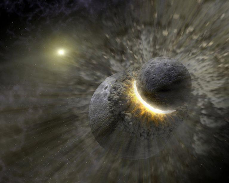 Ilustración artística que muestra una colisión planetaria cerca de la estrella Vega, similar a la que podría haber creado la Luna.