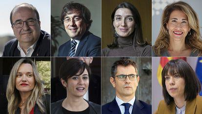 Miquel Iceta, José Manuel Albares, Pilar Llop, Raquel Sánchez, Pilar Alegría, Isabel Rodríguez, Felix Bolaños y Diana Morant.