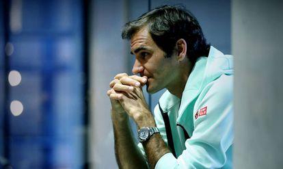 Federer, en otro instante del encuentro con EL PAÍS.
