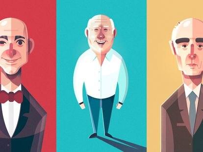 Ilustraciones de Jeff Bezos, Amancio Ortega y Rafael del Pino.