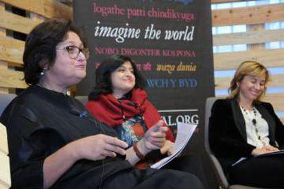 Namita Gorhkale, Neeta Gupta y Elvira Marco en la presentación.