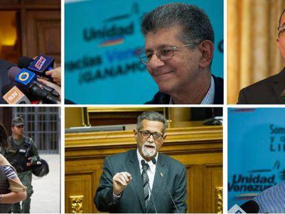 Los diputados opositores venezolanos (desde la izquierda, arriba) Simón Calzadilla, Henry Ramos y Richard Blanco. Abajo, Mariela Magallanes, Américo de Grazia y Luis Florido.