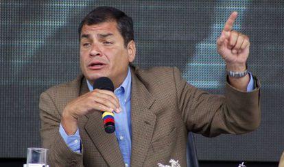 El presidente Correa este sábado en su alocución semanal.