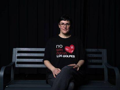 Pamela Palenciano, en enero de 2020, tras una actuación en el instituto Los Rosales de Móstoles.