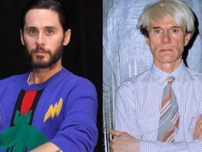 El actor Jared Leto y el artista Andy Warhol.