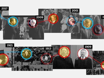 Recorrido visual por las investiduras de EE UU: Trump rompe 150 años de tradición democrática