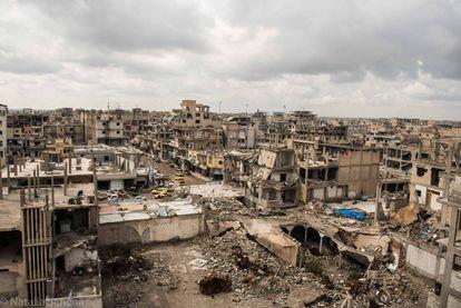 Vistas del barrio Al Bedu, escenario de los últimos combates para expulsar al ISIS.
