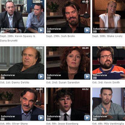 Entrevistas a actores en la página de IMDb.