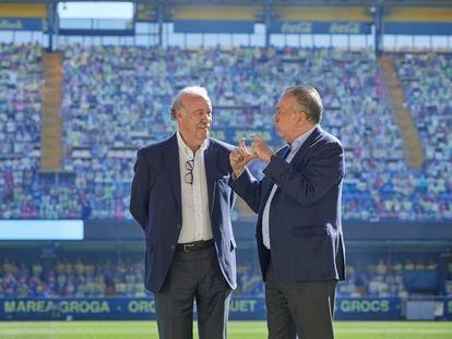 Vicente del Bosque y Fernando Roig, en La Cerámica.