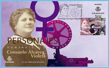Consuelo Álvarez, Violeta, en un edición de sellos de correos dedicados a las mujeres telegrafistas.
