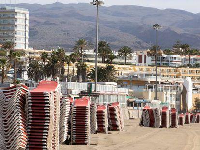Playa del Inglés, en Gran Canaria, en mayo.