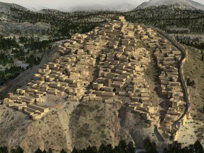 Recreación 3D de La Bastida, cerca de la actual Totana (Murcia), uno de los principales asentamientos de la cultura argárica.