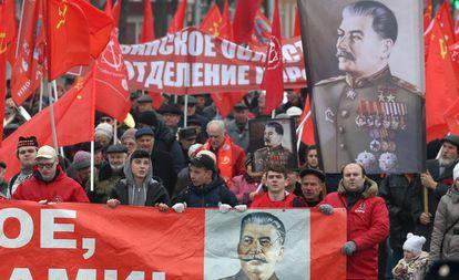Manifestación del Patido Comunista Ruso para conmemorar la Revolución de Octubre de 1917, el pasado 7 de noviembre.