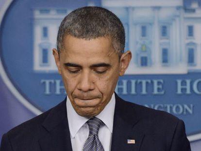 Obama, emocionado, durante su intervención sobre la matanza de Connecticut.