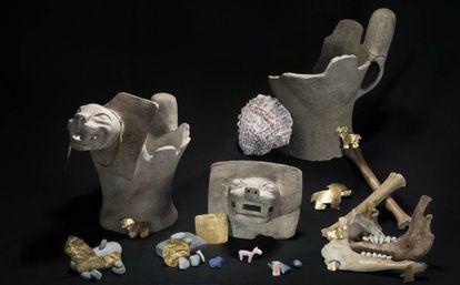 Piezas de ofrendas rituales recuperadas en el lago Titicaca.