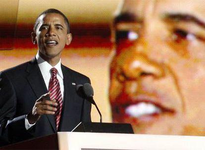 Barack Obama, primer candidato negro a la Casa Blanca, pronuncia un discurso tras aceptar la nominación.