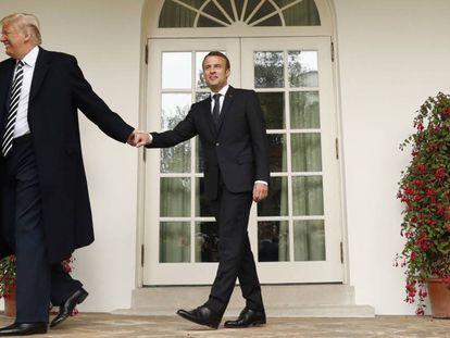 El presidente de EE UU, Donald Trump, y su homólogo francés, Emmanuel Macron, en la Casa Blanca en abril.