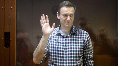 El opositor Alexéi Navalni en el Tribunal Municipal de Moscú, el 20 de febrero.
