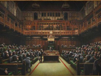 La obra 'Devolved Parliament', de Banksy, subastada este jueves en Londres.