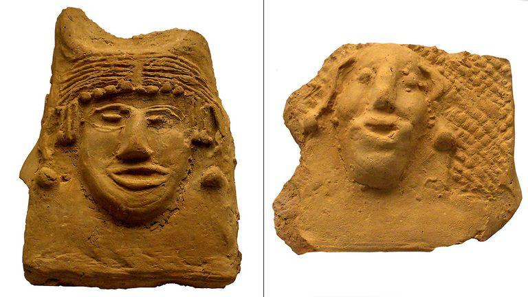 De izquierda a derecha, antefijas de la emperatriz Leoncia y el emperador Focas.