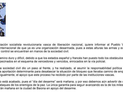 """ETA asegura que ya es una organización """"desarmada"""""""