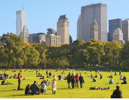Imagen de gente en Central Park con los rascacielos al fondo
