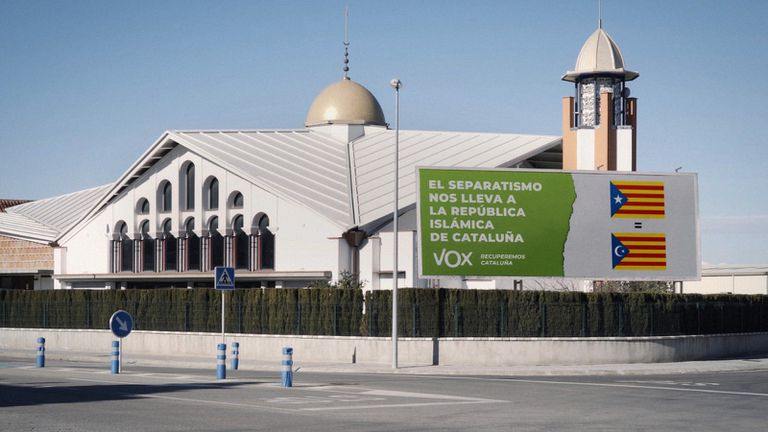 Image of the Palafruguell mosque used by Vox in its # StopIslamización campaign on social networks