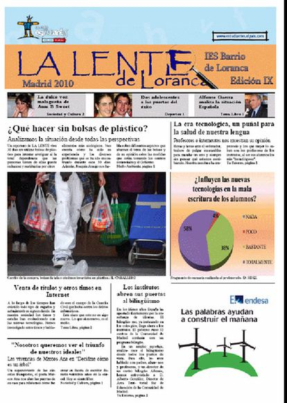 Imagen de la portada del periódico 'La Lente de Loranca' del instituto Barrio de Loranca de Fuenlabrada (Madrid)