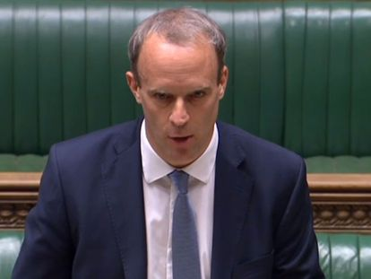 El ministro de Exteriores británico, Dominic Raab, anuncia en la Cámara de los Comunes las primeras sanciones internacionales unilaterales.