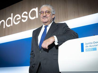 El consejero delegado de Endesa, José Bogas, en la junta general de accionistas de 2021.