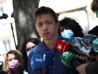 El portavoz de Más País en el Congreso, Íñigo Errejón, tras votar en las elecciones autonómicas en Madrid, el pasado 4 de mayo.