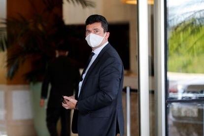 El exministro de Justicia de Brasil Sergio Moro a su llegada a un hotel de Brasilia.
