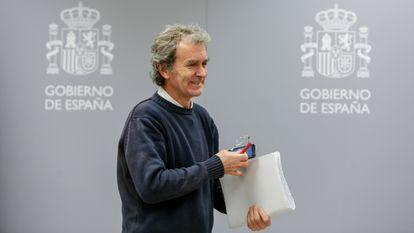 Fernando Simón, director del Centro de Coordinaciön de Alertas y Emergencias Sanitarias,  antes de la rueda de prensa del 7 de marzo de 2020.