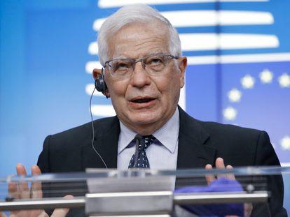 El alto representante para la UE, Josep Borrell, en una rueda de prensa este martes en Bruselas.