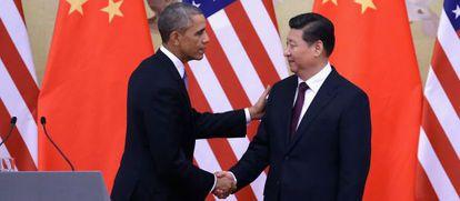 El presidente de EE UU, Barack Obama, con el presidente chino Xi Jinping.