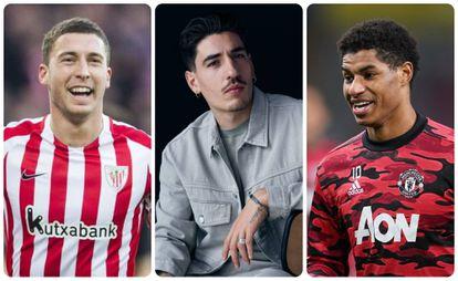 Desde la izquierda, los futbolistas Óscar de Marcos, Héctor Bellerín y Marcus Rashford.