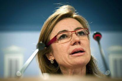 La secretaria de Estado de Presupuestos y Gastos, Marta Fernández Currás, ayer durante la presentación de los datos de ejecución presupuestaria.